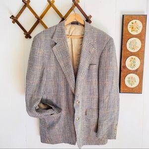 Vintage Plaid Wool Sport Coat Blazer USA Made